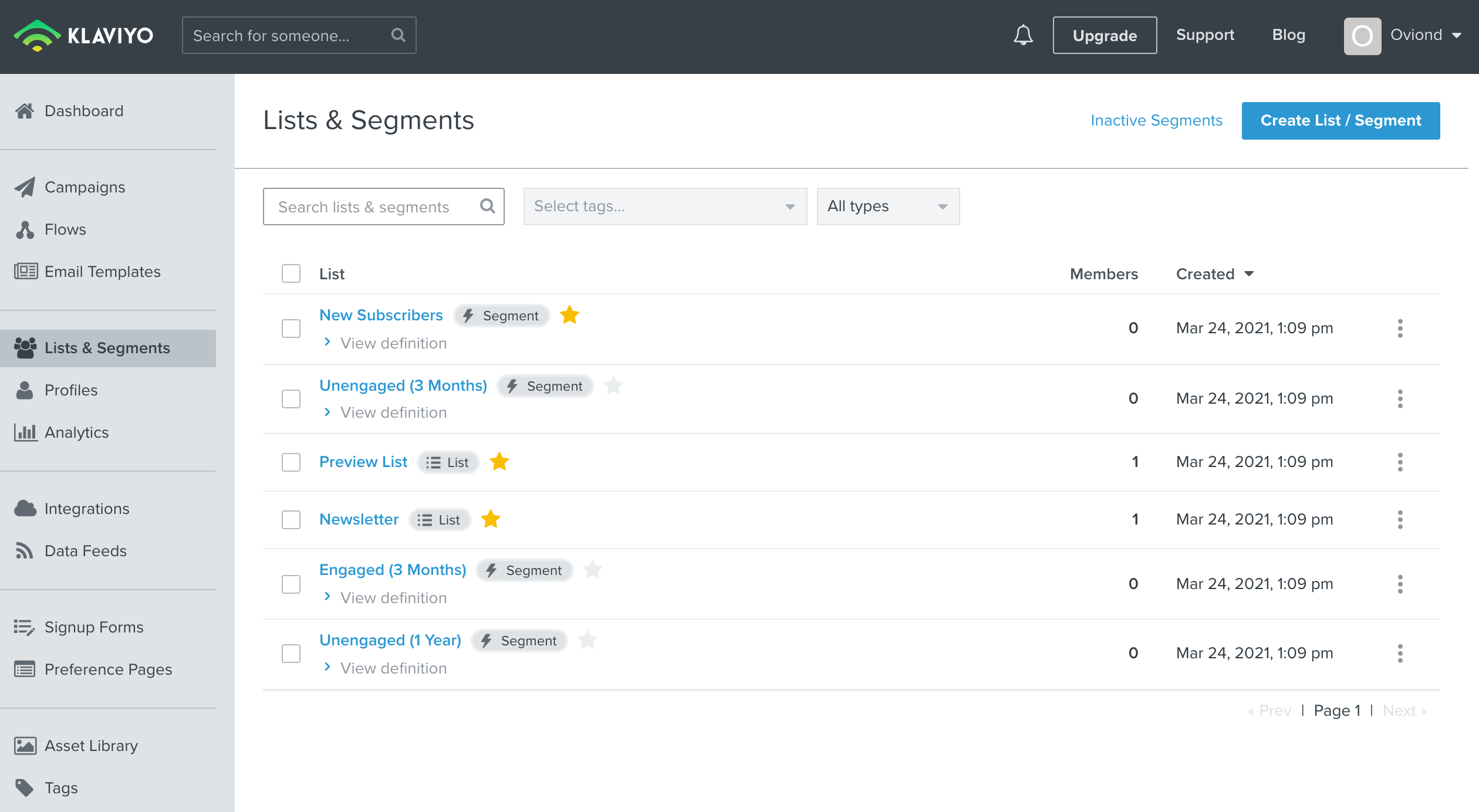 Screenshot of lists and segments of Klaviyo platform.